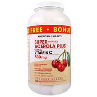American Health, Пищевая добавка Супер жевательная ацерола плюс, со вкусом натуральных ягод, 500 мг, 300 жевательных пластинок