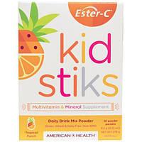 American Health, Эстер-C Кидстикс Растворимый напиток на каждый день, Со вкусом тропических фруктов, 30 пакетов с порошком, 9.2 г (0.32 унции) каждый