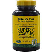 Natures Plus, Супер C комплекс, таблетки с постепенным высвобождением, 90 таблеток