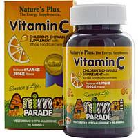 Natures Plus, Источник жизни, Жевательные таблетки для детей с витамином С в форме животных, 90 животных