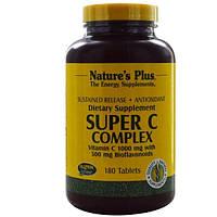 Natures Plus, Супер комплекс витаминов С, 1000 мг витамина С с 500 мг биофлавоноидов, 180 таблеток