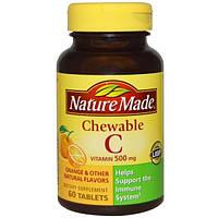 Nature Made, Жевательный витамин C, 500 мг, 60 таблеток
