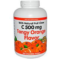 Natural Factors, Витамин C 500 мг 180 жевательных вафель Кислый апельсин