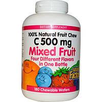 Natural Factors, C 500 мг, Фруктовый микс, 180 жевательных конфет