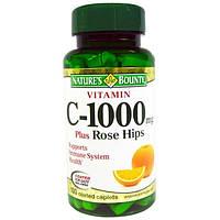 Natures Bounty, Витамин C-1000 плюс шиповник, 100 капсуловидных таблеток с покрытием