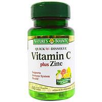 Natures Bounty, Витамин C плюс цинк, натуральный цитрусовый вкус, 60 быстрорастворимых таблеток