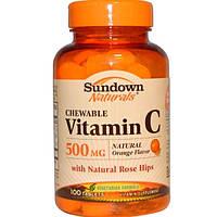 Sundown Naturals, Жевательный витамин C, со вкусом натурального апельсина, 500 мг, 100 таблеток