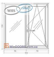 "Окно металлопластиковое WHS HALO, 9-ти 12-ти этажка ""Чешка""1510х1550 мм"