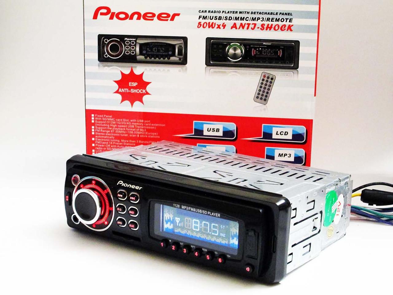 Автомагнитола Pioneer 1128 Usb+Sd+Fm+Aux+ пульт