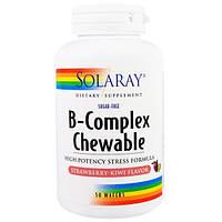 Solaray, Жевательные витамины группы B, вкус клубника-киви, без сахара, 50 пластинок