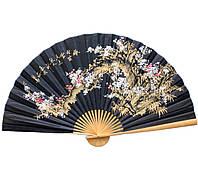 Веер на стену Сакура на черном фоне