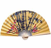 Веер на стену Сакура с бамбуком на желтом фоне