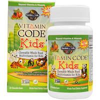 Garden of Life, Vitamin Code, жевательные цельнопищевые мультивитамины для детей, 30 жевательных мишек