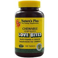 Natures Plus, Добавка для детей с мультивитаминами и минералами Love Bites, 180 жевательных таблеток