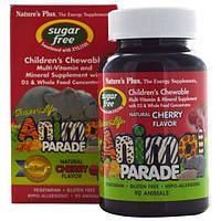 Natures Plus, Source of Life, Детская жевательная добавка с мультивитаминами и минералами, без сахара, 90