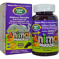 Natures Plus, Source of Life, Парад животных, жевательные конфеты без сахара для детей, природный виноградный вкус, 90 животных