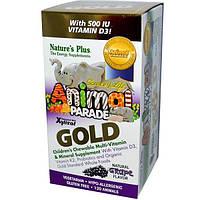 Natures Plus, Source of Life Animal Parade, Gold, жевательные мультивитамины и минералы, 120 таблеток в форме