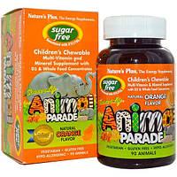 Natures Plus, Source of Life, Animal Parade, Жевательный витамин для детей, Без Сахара, Натуральный Апельсиновый вкус 90 Animals