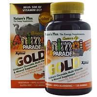 Natures Plus, Источник жизни, Золотое шествие животных, Жевательный комплекс мультивитаминов и минералов для детей с натуральным вкусом апельсина, 120
