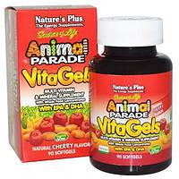 Natures Plus, Source of Life, Парад животных, Витагели, добавка с мультивитаминами и минералами, натуральный вишневый вкус, 90 мягких желатиновых