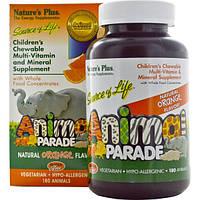 Natures Plus, Источник жизни, парад животных, детские жевательные мультивитамины и микроэлемент с натуральным апельсиновым вкусом, 180 животных