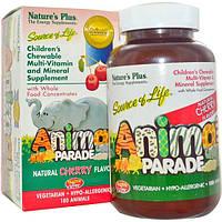 Natures Plus, Источник жизни, Шествие животных, Жевательный комплекс мультивитаминов и минералов для детей с натуральным вкусом вишни, 180 животных