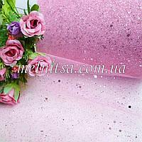 Фатин с блестками, цвет розовый, шир. 15 см