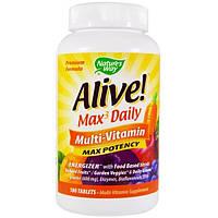 Natures Way, Alive! Ежедневно Max3, мультивитамины, 180 таблеток