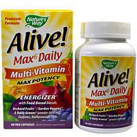 Natures Way, Alive!, до 6 в день, мульти-витамин, максимальная активность, 90 веганских капсул