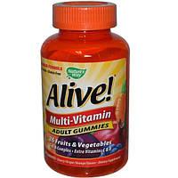 Natures Way, Alive!, Мульти-витаминный комплекс для взрослых со вкусом вишни, винограда и апельсина, 90 жевательных таблеток