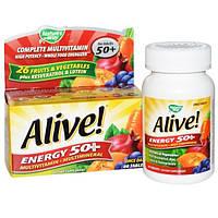 Natures Way, Живая энергия 50+, мультивитаминный-Мультиминерал, Для взрослых 50+, 60 Tablets