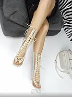 Женские летние сапоги транспарентные на шнуровке,очень удобные.