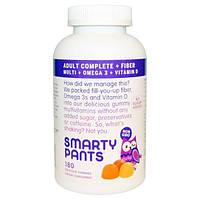 SmartyPants, Комплекс мультивитаминов для взрослых + Клетчатка + Омега 3 + Витамин D, 180 Вкусных Жевательных Мармеладок