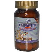 Solgar, Kangavites, Полный состав мультивитаминов и минералов для детей, 120 жевательных таблеток