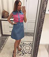 Женское летнее платье из коттона с шифоном 1111