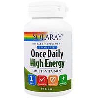 Мультивитамины для энергии Solaray Multi-Vita-Min 90 вегетарианских капсул
