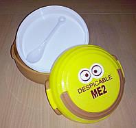 Ланч - бокс с ложкой и тарелкой Детский. Контейнер для продуктов. Коричневый