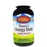 Carlson Labs, Женские мультивитамины омега, с рыбьим жиром, 180 желатиновых капсул