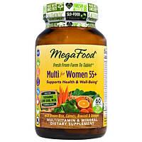 MegaFood, Комплекс мультивитаминов и минералов из цельных продуктов для женщин старше 55 лет, без железа, 60 таблеток