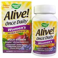 Natures Way, Alive! Один раз в день Для женщин Суперсила Мультивитамины, 60 таблеток