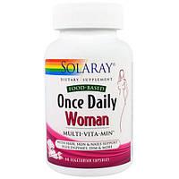 Solaray, Раз в день, витамины для женщин, Multi-Vita-Min, 90 вегетарианских капсул