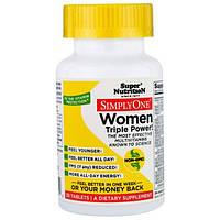 Super Nutrition, SimplyOne, мультивитаминный комплекс тройной концентрации для женщин, 30 таблеток