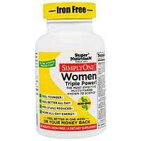 Super Nutrition, SimplyOne, мультивитаминный комплекс тройной концентрации для женщин, без железа, 30 таблеток