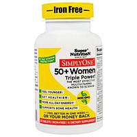 Super Nutrition, SimplyOne, мультивитаминный комплекс тройной концентрации для женщин 50+, без железа, 30 таблеток