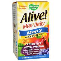 Natures Way, Alive!, Max3 Daily, максимальная мужская энергия, 90 таблеток