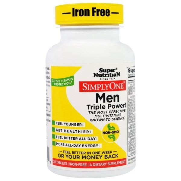 Super Nutrition, SimplyOne, мультивитаминный комплекс тройной концентрации для мужчин, без железа, 30 таблеток