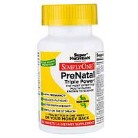 Super Nutrition, SimplyOne, пренатальный мультивитаминный комплекс тройной концентрации, 30 таблеток