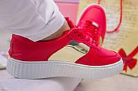 Женские красные кеды с белой подошвой