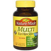 Nature Made, Мультивитамины для мужчин за 50, без железа, 90 гелевых таблеток