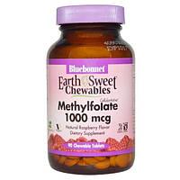Bluebonnet Nutrition, Жевательные таблетки EarthSweet, Cellular Active L-метилфолат, натуральным малиновым вкусом, 1000 мкг, 90 Жевательных таблеток